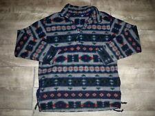 Vtg Eddie Bauer 1/4 Zip Fleece Pullover Hoodie Men Size Tall LG Indian Ski Aztec