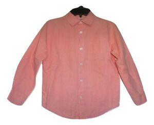 Gymboree Picnic Party Boys Salmon Pink Long Sleeve Button Down Shirt 5-6