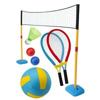 Mega Jumbo Sports Set 3 in 1 Garden Summer Games Toy Tennis Badminton Volleyball