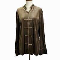 Harve Benard Holtzman Velvet Jacket XLarge Brown Asian Inspired Velour Blazer