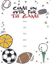 SPORTS PARTY INVITATIONS Football Baseball Basketball Tailgate Hockey TV Game