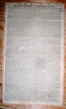 Original 1807 Springfield MASSACHUSETTS newspaper HAMPSHIRE FEDERALIST 207 yrOld