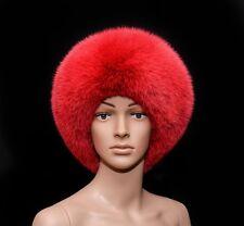 Saga Furs Volcano Red Blue Fox Fur Classic Handmade Beret Beanie Hat