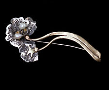 Antique Arts & Crafts 10k Gold Sterling Silver Natural Pearl Floral Pin Brooch