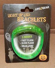 Halloween Life Gear Light Up LED Bracelet Green 3 Modes Be Seen At Night 115P