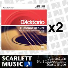 2x D'Addario EJ17 Phosphor Bronze Medium Strings 13-56 Daddario *SET OF 2 PACKS*
