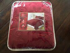 Home Classics KING Gloria Quilt RED Whimsical Snowflake Swirl PLUSH NWT $180