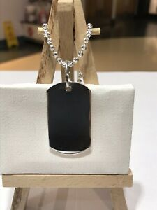 Genuine 925 Sterling Silver Personalised Men's ID Dog Tag Pendants