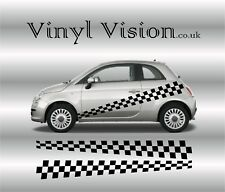 Fiat 500 Abarth Side Racing Stripes Checkers Stickers,Decals, Graphics