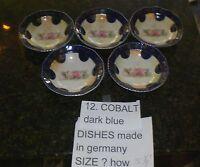 German Cobalt Antique Porcelain Dessert  Fruit Rose Bowl (set of 5) Gilt