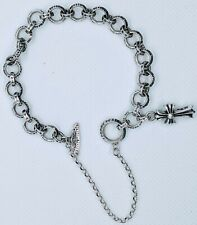 """Charms 7"""" Bracelet 17.05g Smoke Silver 925 New listing Chrome Hearts Ring Baby Fat Cross"""