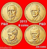 2015 P&D PRESIDENTIAL DOLLAR 8 COIN SET TRUMAN EISENHOWER JFK LBJ JOHNSON