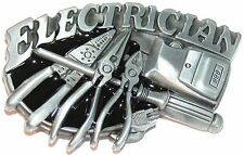 Electrician Leccy Tradesman Tools Belt Buckle to fix to own belt 3d effect New
