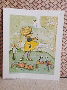 "Vtg Scafa Tornabene Art NY 1973 Girl in Dress Golfing Litho In USA Pastels 4x5"""