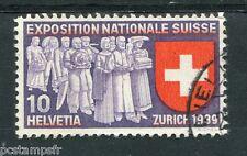 SUISSE SCHWEIZ, 1939 timbre 323 EXPOSITION ZURICH, oblitéré, VF STAMP EXHIBITION