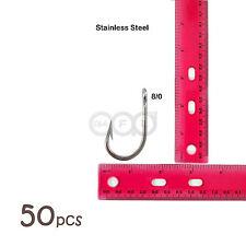 50pcs Size 8/0 Fishing Stainless steel Swordfish tuna Hooks Marlin Bulk Pack @US