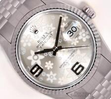 Rolex Datejust 36mm Stainless Steel 18k Fluted Bezel Silver Floral Motif Dial