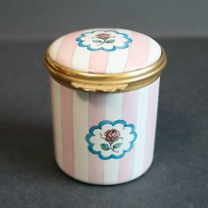 Ashley Enamels England Trinket Box. Pink and White Stripes with Flowers