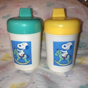 Vintage Snoopy Baby Sippy/Training Cups!! Danara -Teal /Yellow!! Adorable!! NOS!