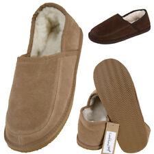 Mens Ladies Real Suede Sheepskin Slipper Lambswool Lining Hard EVA Sole Slippers