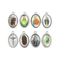 10Pcs Holy Catholic Religious Crosses Enamel silver Medals Charms Pendants 29mm