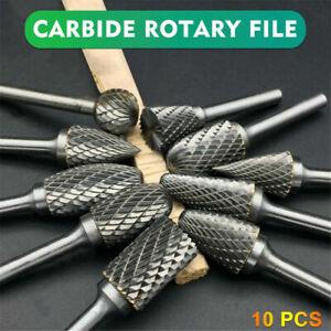 10Pcs Rotary Burr Bit Tungsten Carbide Point Die Grinder Shank Carving Set Tools