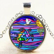 Colorful Sea turtle Cabochon Silver Glass Chain Pendant Necklace Jewelry