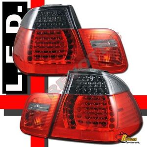 2002-2005 BMW E46 4Dr Sedan 325i 325xi 330i 330xi LED Tail Lights Red Smoke