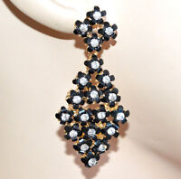 ORECCHINI pendenti oro dorati neri donna fiori strass cristalli cerimonia A23