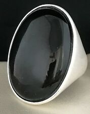 Signed Sheila Fajl Brushed Silver Tone Ring Polished Brown Stone Sz 8 3u