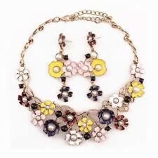 Chunky Colorful Enamel Pearl Flower Pendant Gold Chain Statement Women Necklace