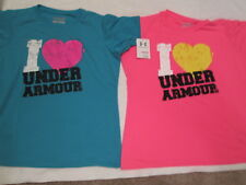 2 NEW Girls UNDER ARMOUR Pink+Blue Graphic Print Short Sleeve Tees YLG FREE SHIP