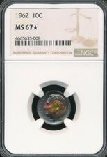 1962 Roosevelt Dime NGC MS 67 *STAR* *Spectacular Rainbow Toning!*