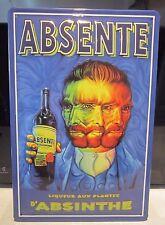 """ABSINTHE ABSENTE, EMBOSSED(3D)  VINTAGE-STYLE SIGN, 12""""X 8"""", 30x20cm, VAN GOGH"""