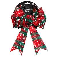 Christmas Tartan Bow Tree Decoration - Single 28cm Bow