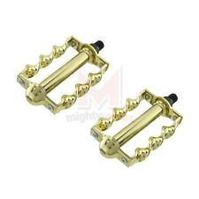 """New Bicycle Twisted Pedals 1/2"""" Gold Beach Cruiser Chopper Custom Lowrider Bikes"""