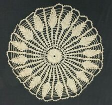 Vintage Crochet Lace Doily Table Top 17 In Round Ecru and Silver Thread Accent