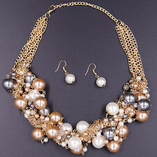 UK Twisted Multi-Color Pearl Crystal Necklace Pendant Earrings Lady Jewelry Set