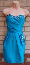 LIPSY BEADED TURQUOISE BANDEAU PROM PARTY ELEGANT TULIP RARE DRESS 8 S