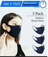 5X Unisex Face Mask Washable Reusable Black Protection Masks Covering Adult UK