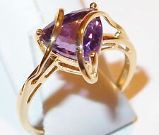 Amethyst solitaire with looping bands, 14K gold overlay Sterling Silver, Size Q.