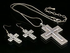 Quality White enamel cross women silver plated pendant necklace earrings S09
