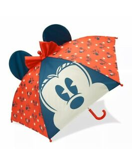 Disney Store Minnie Mouse Red Polka Dot 3D Ears Umbrella for Kids New
