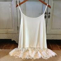 L NWT White Lace Hem Layering Tunic Tank Top Women's Size LARGE Top Extender