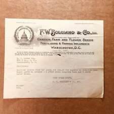 1927 Billhead from F.W. BOLGIANO & CO. of Washington, D.C. w/ litho. of Capitol