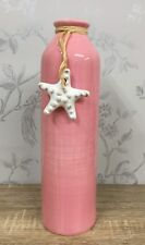 Nautical Shabby Chic Tall Pink Vase Ceramic Jar with Seashell Charm 62268