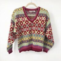 Interim Womens Pullover Sweater Red Yellow Fair Isle Long Sleeves Vintage M New