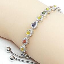 3.50ctw Multi-Color Sapphire & Diamond Cut White Sapphire 925 Bolo Bracelet 9.7g