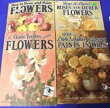 "Lot of 4 Oil/Acrylic Painting ""How To"" Books - Roses and Flowers - Walter Foster"