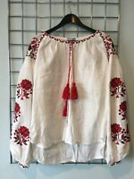 Fanm Mon White Linen Floral Embroidered Top